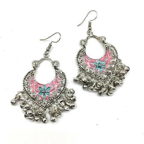 Pink and LightBlue Color Alloy Light Weight Earring - 1403NE02-pi