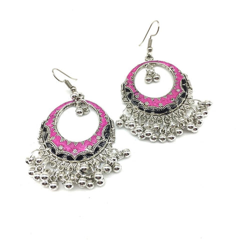 Black and Pink Color Alloy Light Weight Earring - 1403NE03-bl