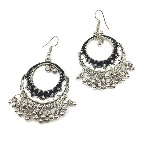 White and Black Color Alloy Light Weight Earring - 1403NE03-w