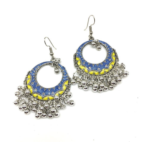 Yellow and Blue Color Alloy Light Weight Earring - 1403NE03-y