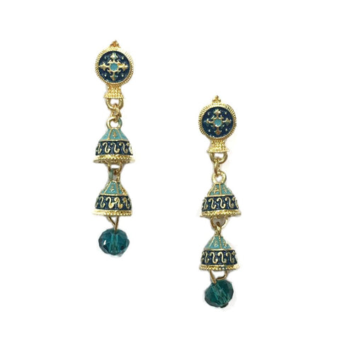 Blue Color Alloy HandCrafted Earring - 1403NE10-b