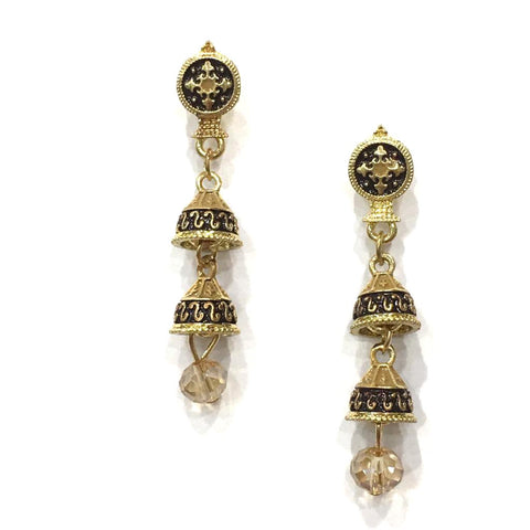 Beige and Black Color Alloy HandCrafted Earring - 1403NE10-bl