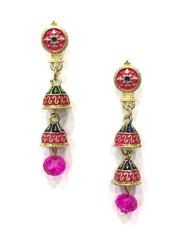Pink and Blue Color Alloy HandCrafted Earring - 1403NE10-m