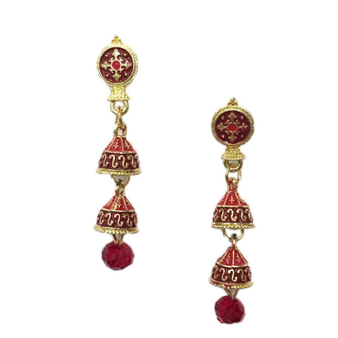 Red Color Alloy HandCrafted Earring - 1403NE10-r