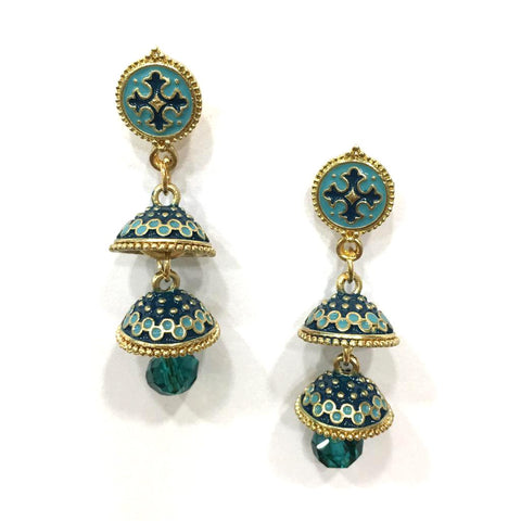 Blue Color Alloy HandCrafted Earring - 1403NE11-b