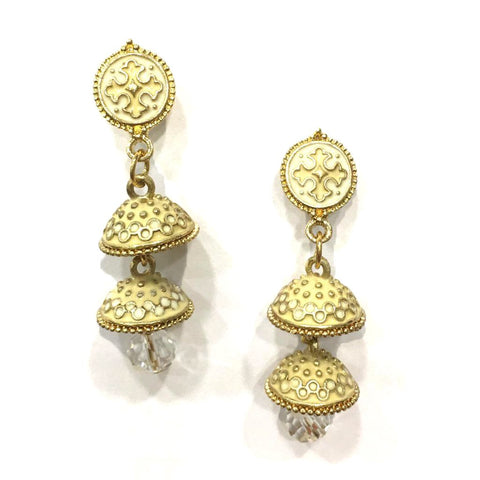 Beige Color Alloy HandCrafted Earring - 1403NE11-be