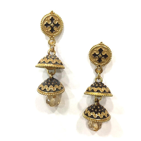 Beige and Brown Color Alloy HandCrafted Earring - 1403NE11-cr