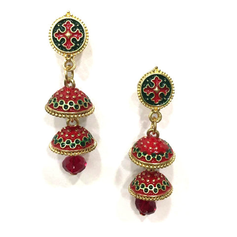Red and Green Color Alloy HandCrafted Earring - 1403NE11-m