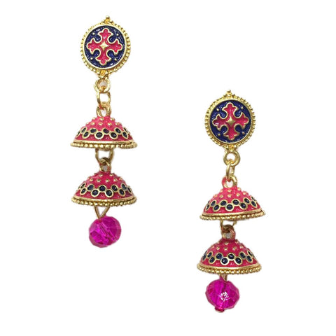DarkBlue and Pink Color Alloy HandCrafted Earring - 1403NE11-pi