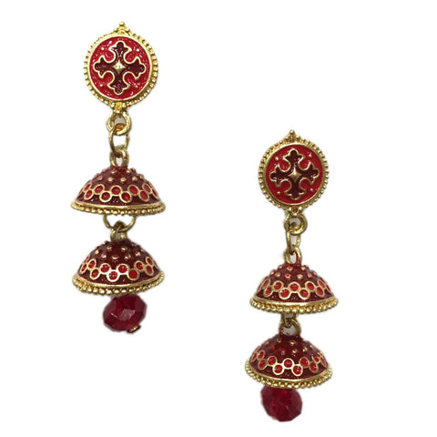 Red Color Alloy HandCrafted Earring - 1403NE11-r