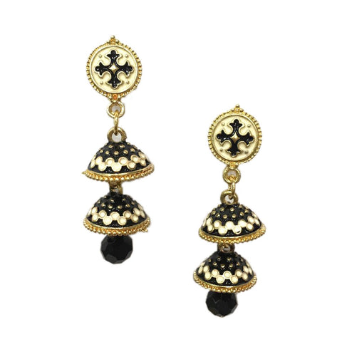 White and Black Color Alloy HandCrafted Earring - 1403NE11-w