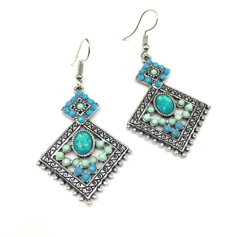 Blue Color Alloy HandCrafted Earring - 1403NE12-b