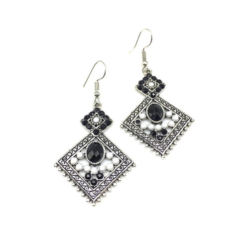 White and Black Color Alloy HandCrafted Earring - 1403NE12-bl
