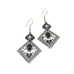 Buy White and Black Color Alloy HandCrafted Earring