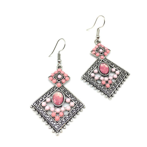 Pink Color Alloy HandCrafted Earring - 1403NE12-pi