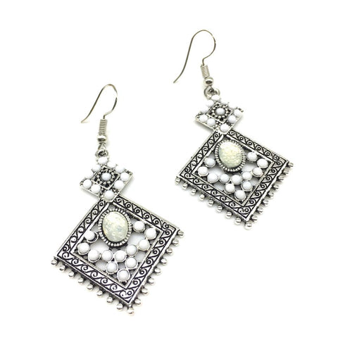 White Color Alloy HandCrafted Earring - 1403NE12-w