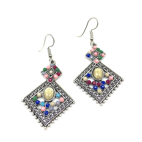 Multi Color Alloy HandCrafted Earring - 1403NE12-ym