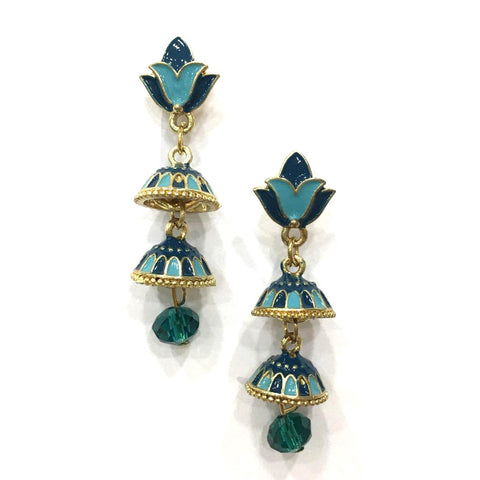 Blue Color Alloy HandCrafted Earring - 1403NE13-b