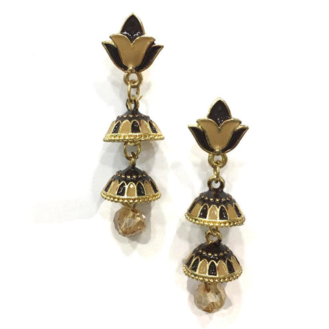 Brown and Beige Color Alloy HandCrafted Earring - 1403NE13-bl
