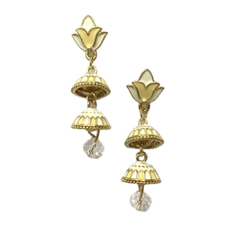 Beige Color Alloy HandCrafted Earring - 1403NE13-cr