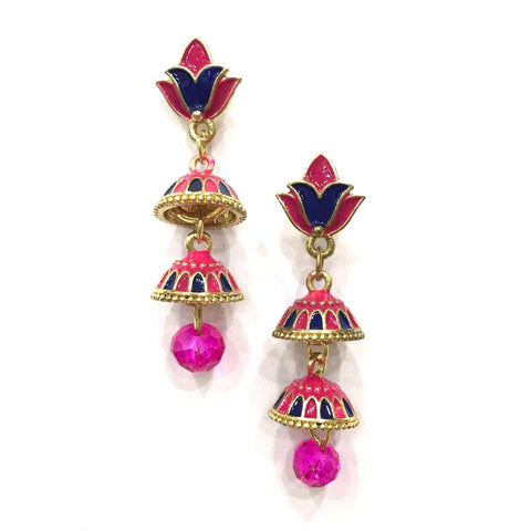 Pink and Blue Color Alloy HandCrafted Earring - 1403NE13-pi