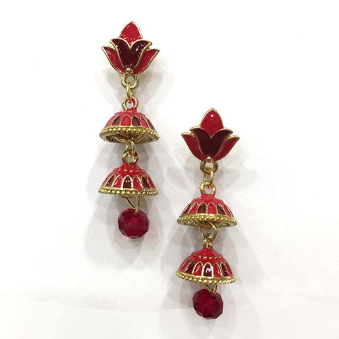 Red Color Alloy HandCrafted Earring - 1403NE13-r