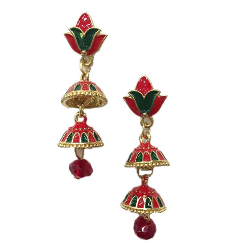 Red and Green Color Alloy HandCrafted Earring - 1403NE13-rg