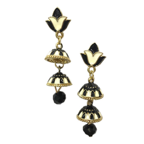 Black and white Color Alloy HandCrafted Earring - 1403NE13-w