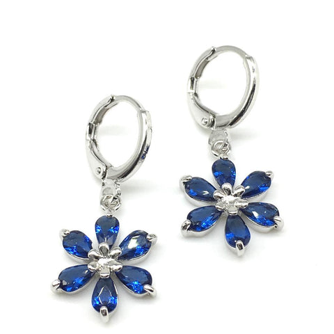 Sliver and Blue Color Alloy Light Weight Earring - 1403NE18-b