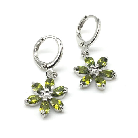 Sliver and Green Color Alloy Light Weight Earring - 1403NE18-g