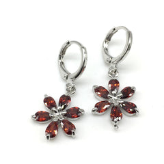 Buy Red With Sliver Color Alloy Light Weight Earring