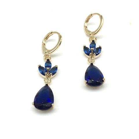 Gold and Blue Color Alloy Light Weight Earring - 1403NE19G-b