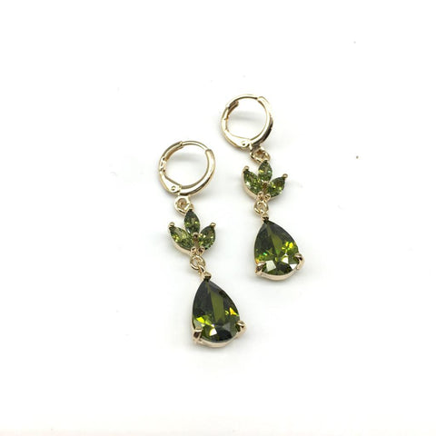 Gold and Green Color Alloy Light Weight Earring - 1403NE19G-g