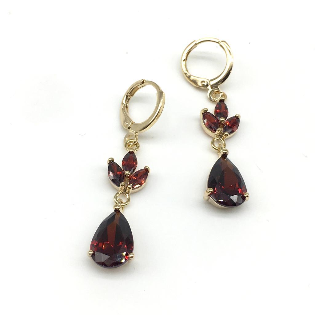 Buy Red With Gold Color Alloy Light Weight Earring