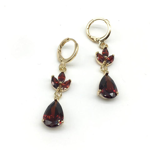 Red With Gold Color Alloy Light Weight Earring - 1403NE19G-r