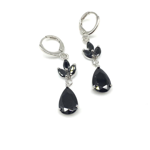 Black With Sliver Color Alloy Light Weight Earring - 1403NE19S-bl
