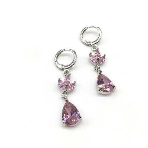 Sliver With Pink Color Alloy Light Weight Earring - 1403NE19S-pi