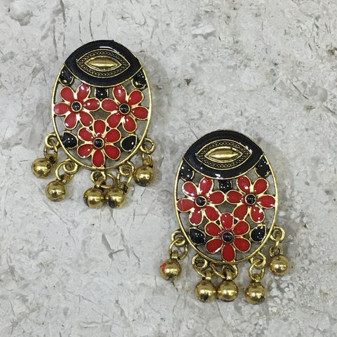 Red and Black Color Alloy Ear Ring - 1405E16-bl