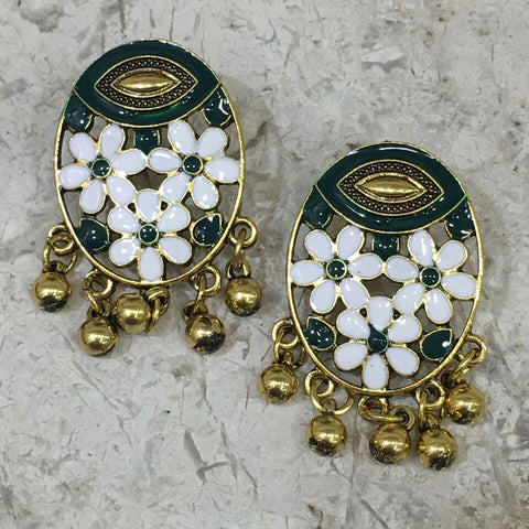 White and Green Color Alloy Ear Ring - 1405E16-g