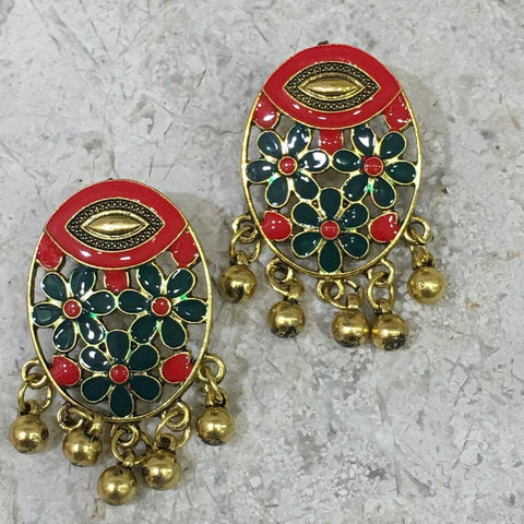 Red and Green Color Alloy Ear Ring - 1405E16-m