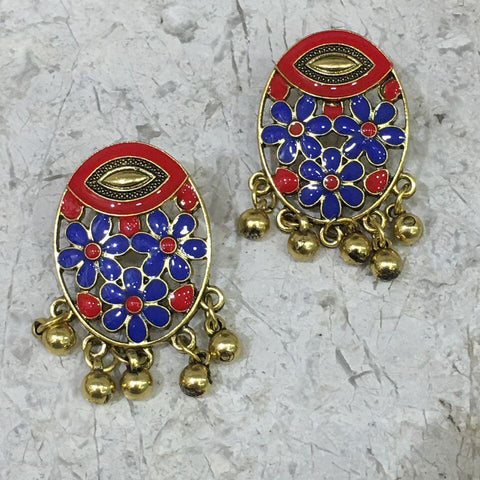 Red and Blue Color Alloy Ear Ring - 1405E16-r