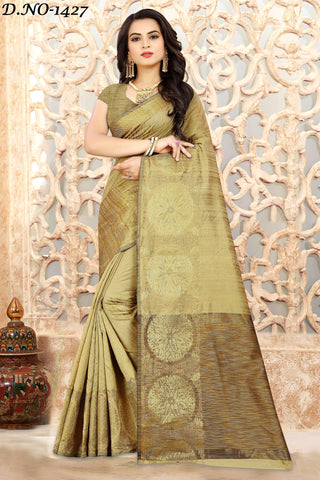 Gold Color Linen Silk Saree - 1427