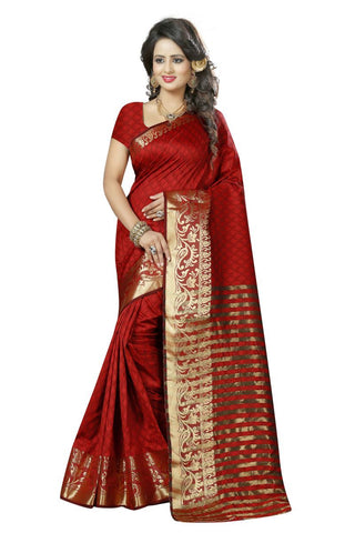 Red Color Poly Cotton Saree - 146-RajVelRed