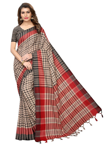 Black Color Cotton Polyester Silk Women's Saree - 147EKA01