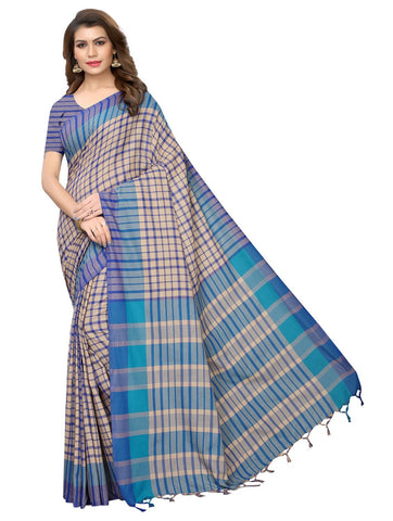 Blue Color Cotton Polyester Silk Women's Saree - 147EKA02