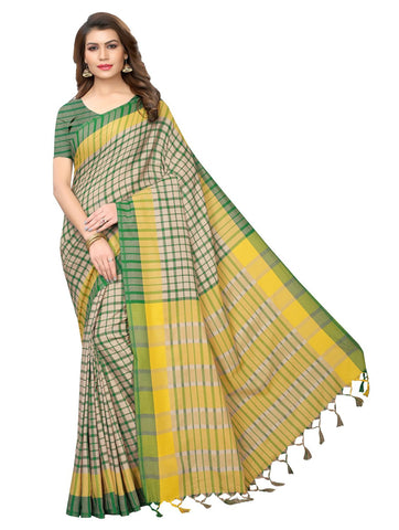 Green Color Cotton Polyester Silk Women's Saree - 147EKA03