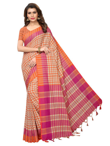 Orange Color Cotton Polyester Silk Women's Saree - 147EKA04