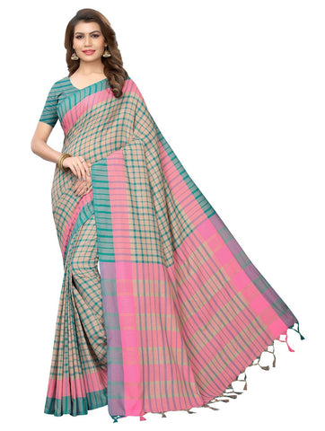 Rama Color Cotton Polyester Silk Women's Saree - 147EKA05