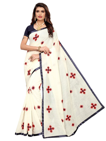 Navy Blue Color Chanderi Cotton Women's Saree - 148EKA01