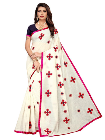 Rani Pink Color Chanderi Cotton Women's Saree - 148EKA02